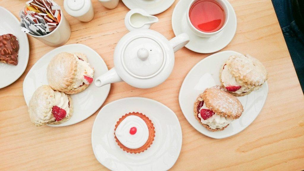 Tea and Scones and bakewell tarts - best british food ever.