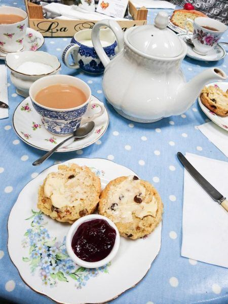 Classic English Food - Afternoon Tea with scones and jam.