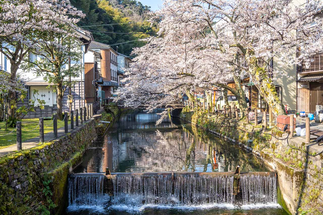 Places to visit in Japan in spring include Kinosaki Onsen.