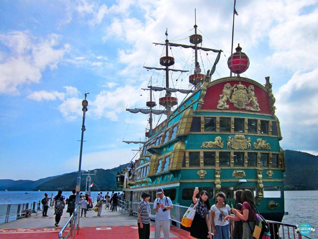 Places to visit in Japan in summer include Lake Ashino, where you can ride this pirate boat replica.