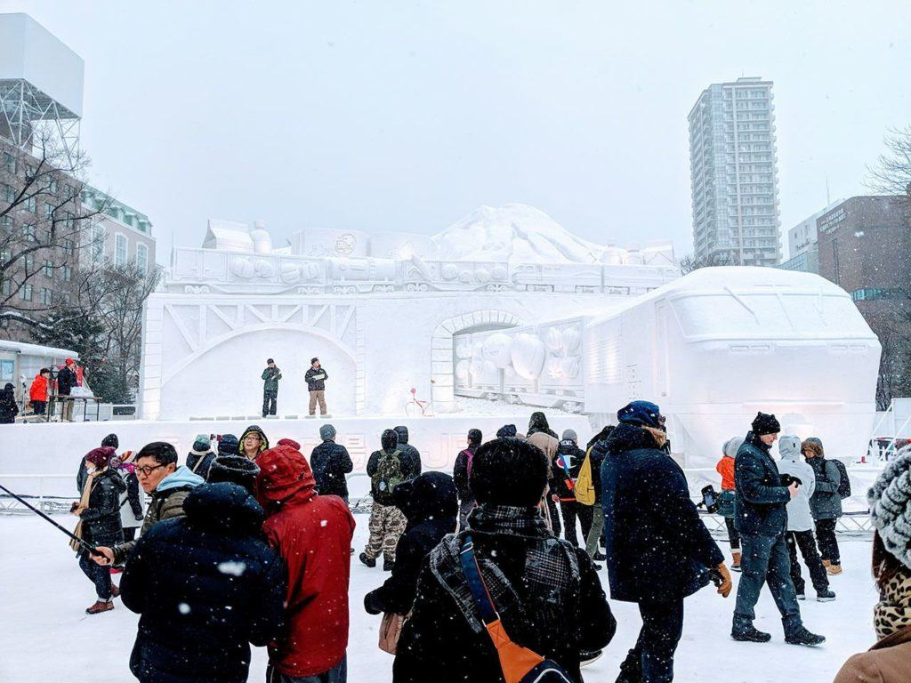 Winter season in Japan brings snow sculptures, like this one at the Sapporo Snow Festival.