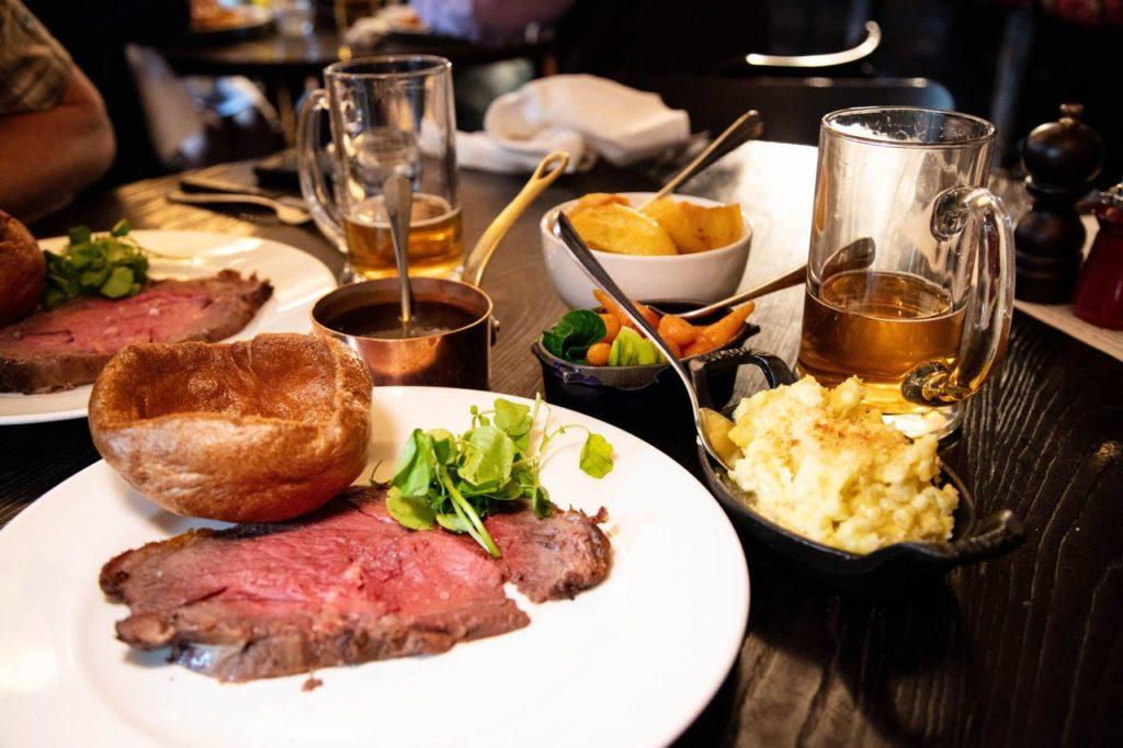 Traditional English food is Sunday Roast with all the fixin's.
