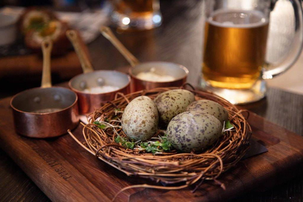 Traditional English food includes these Gull's Eggs at The Jugged Hare.