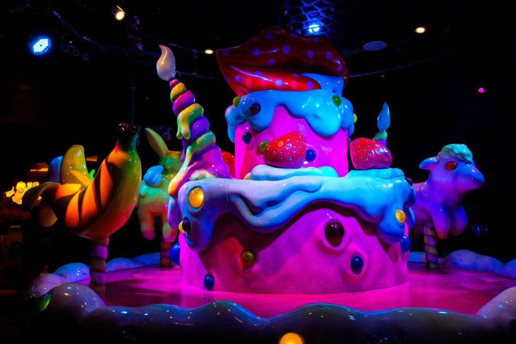 Crazy monster cake on the stage at Kawaii Monster Cafe.