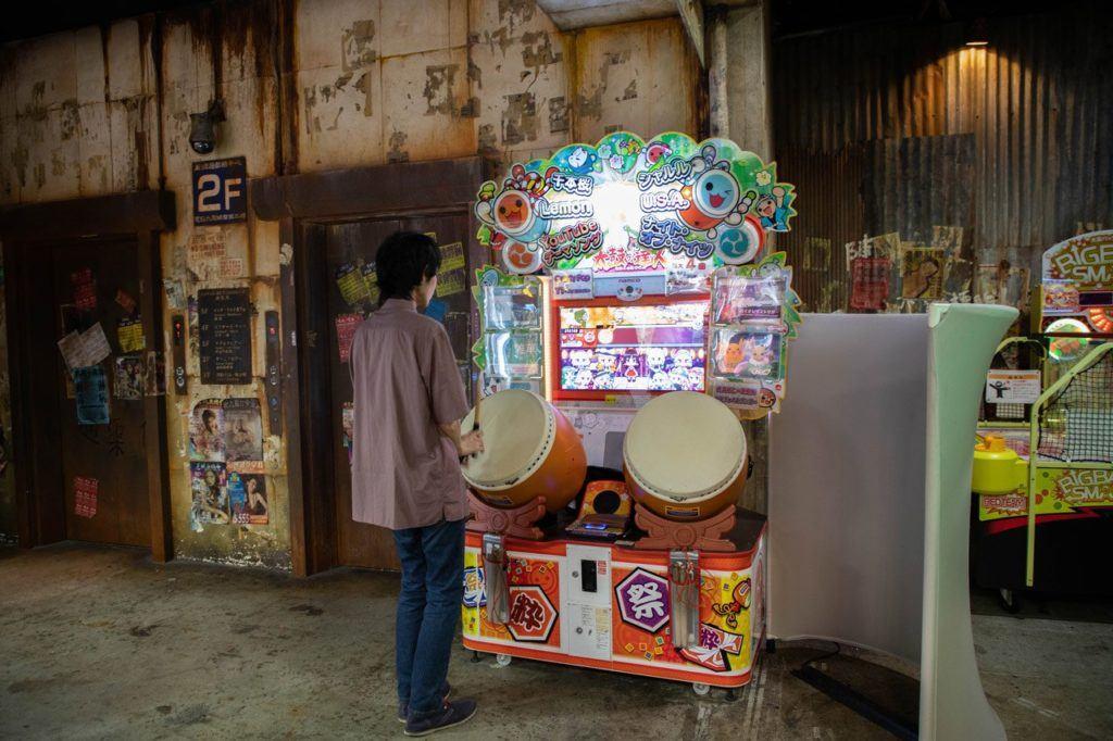 Taiko Drums game at Warehouse Arcade Japan.