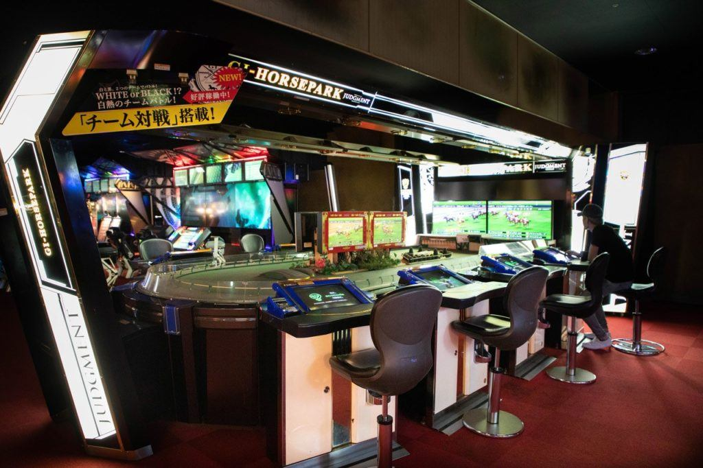 gaming stations in the warehouse arcade Japan.