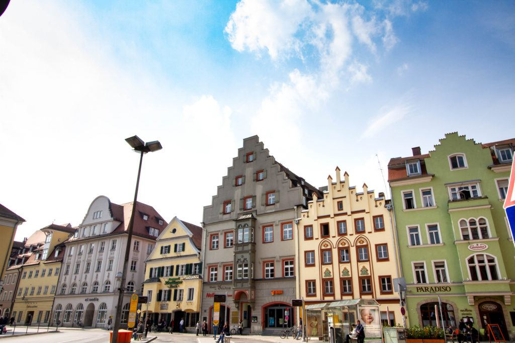 Colorful buildings in the Regensburg Old Town.