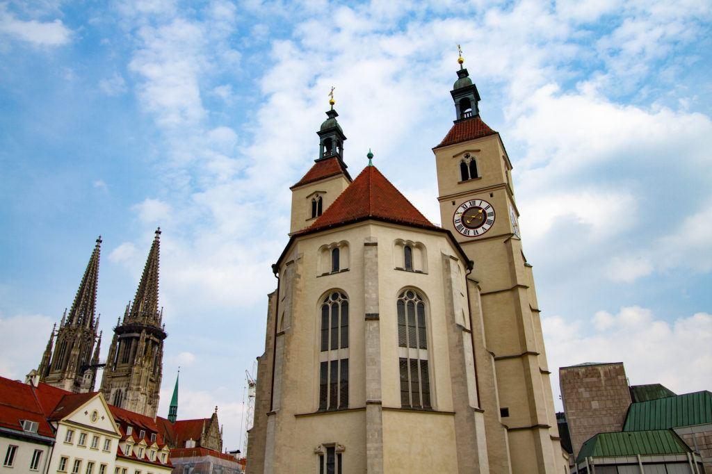 The exterior of the Regensburg Basilica.