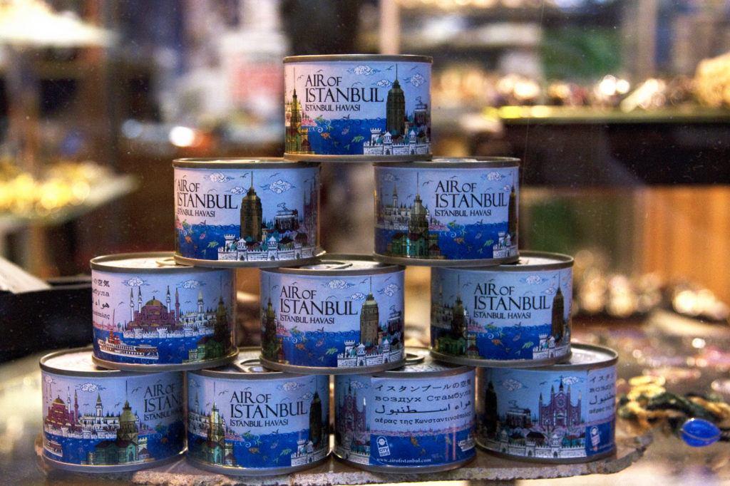 """Souvenir cans of """"Air of Istanbul"""", cute."""