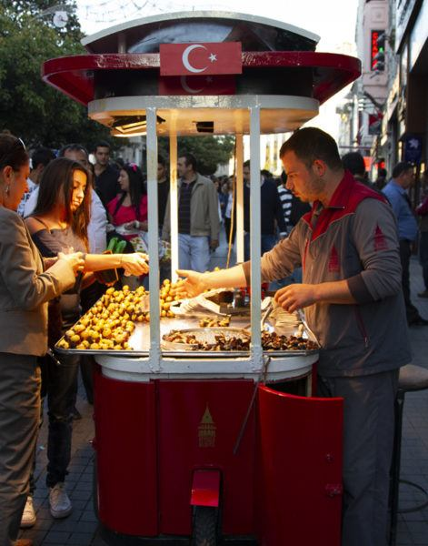 Roasted chestnuts for sale in Taksim, Istanbul.