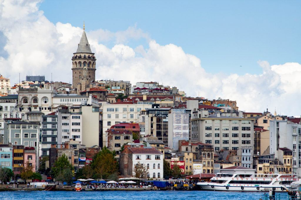 Galata Tower looks high over the Golden Horn of Istanbul.