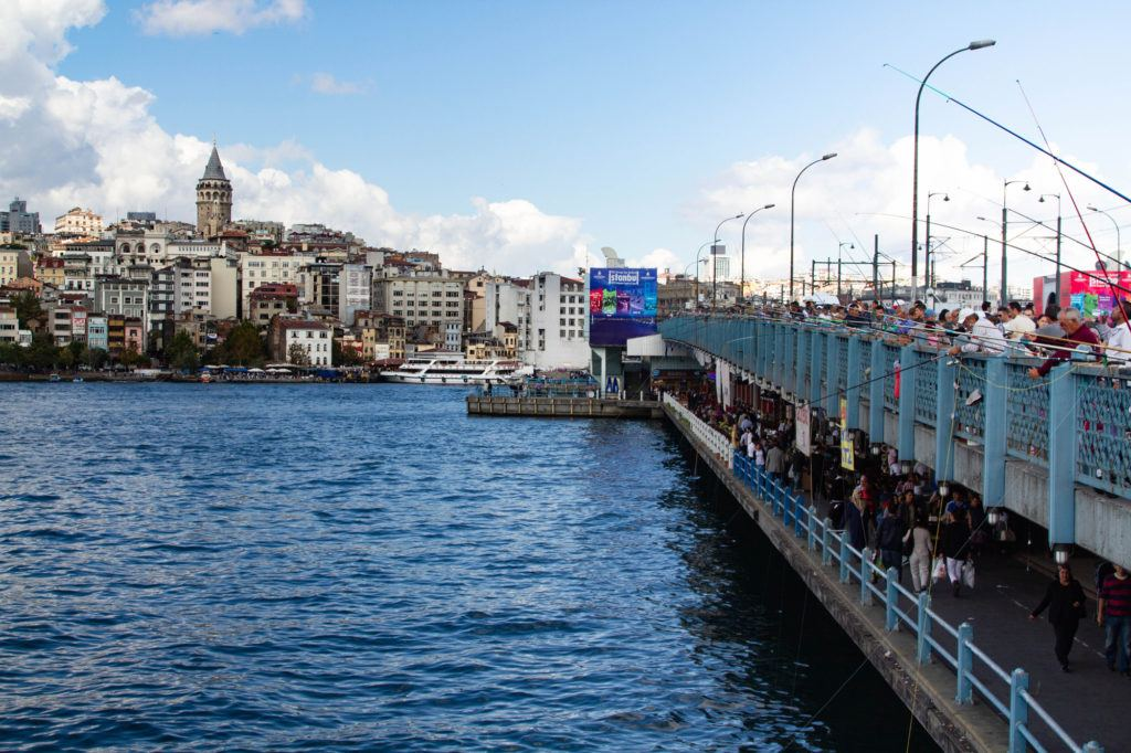 Fishing off the Galata Bridge has been a favorite activity for as long as I can remember. We love the restaurants on the bottom floor.