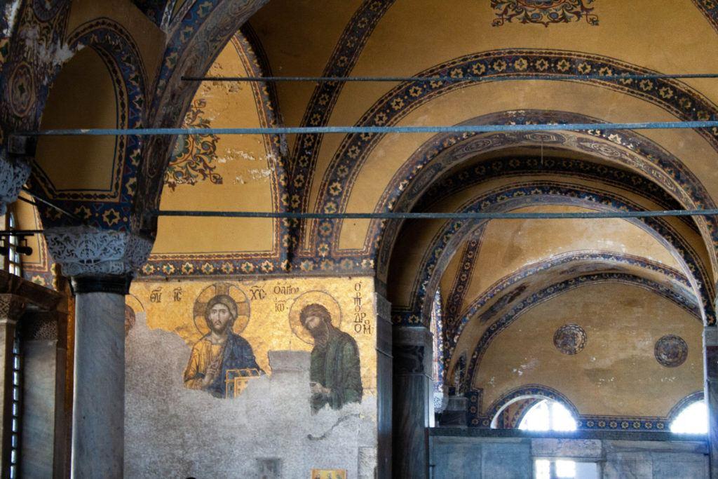 Beautiful golden mosaics of the Hagia Sofia Interior.