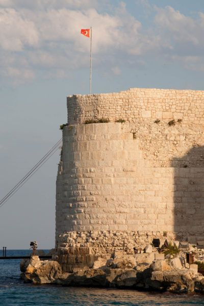 The Turkish flag flies above Maiden Castle.