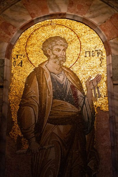 One of the many saints depicted in gold mosaic inside the Chora Church of Istanbul.