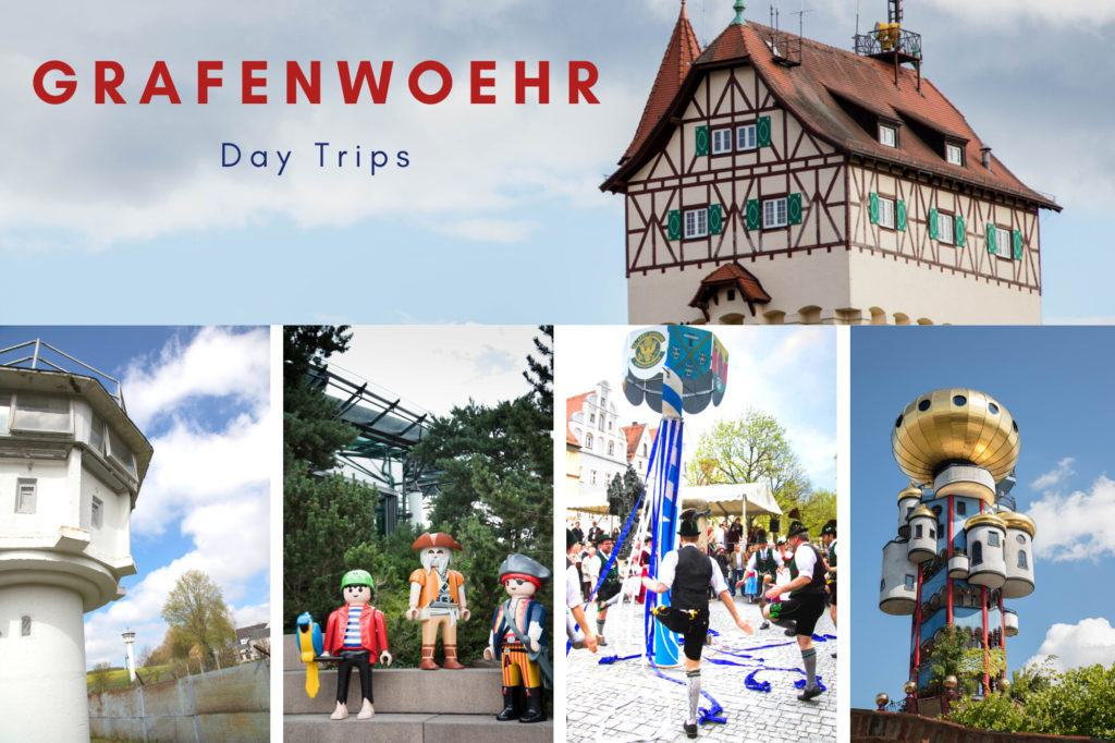 Multi-image: Graf Tower, Moedlareuth tower, Playmobil Funpark, Maypole dancing, and Kuchlbauer Tower.
