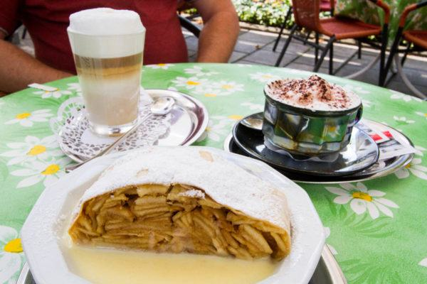Apple strudel and coffees.