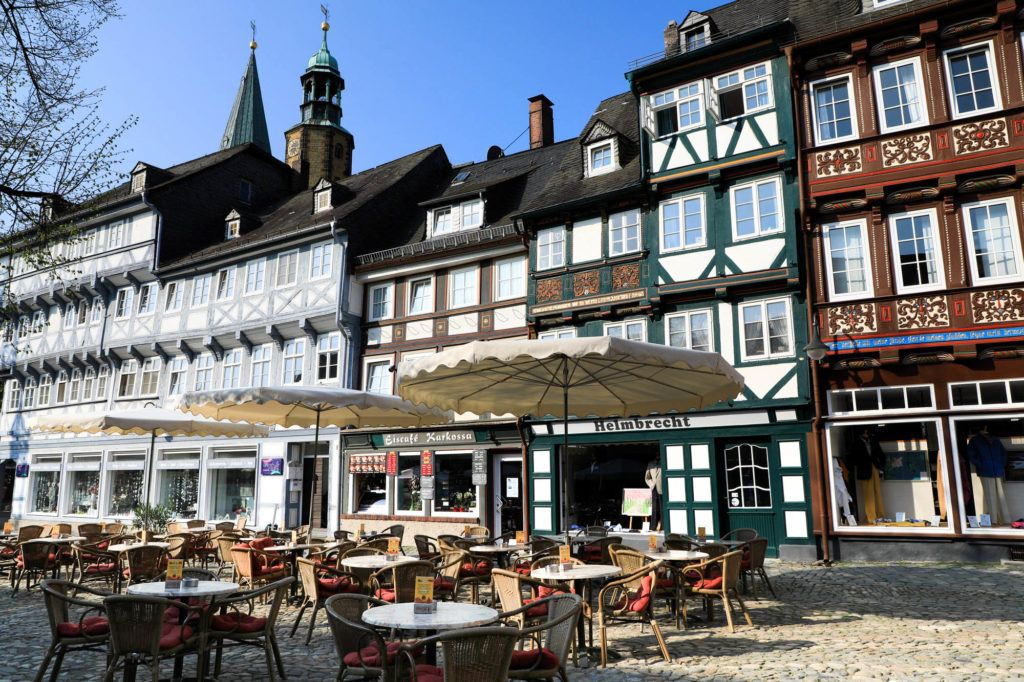 Goslar city center set up for the lunch crowd with lots of tables ready.