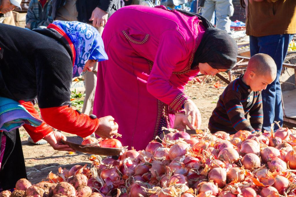 Women picking onions to buy from a pile at the Berber Market in Azrou, Morocco.