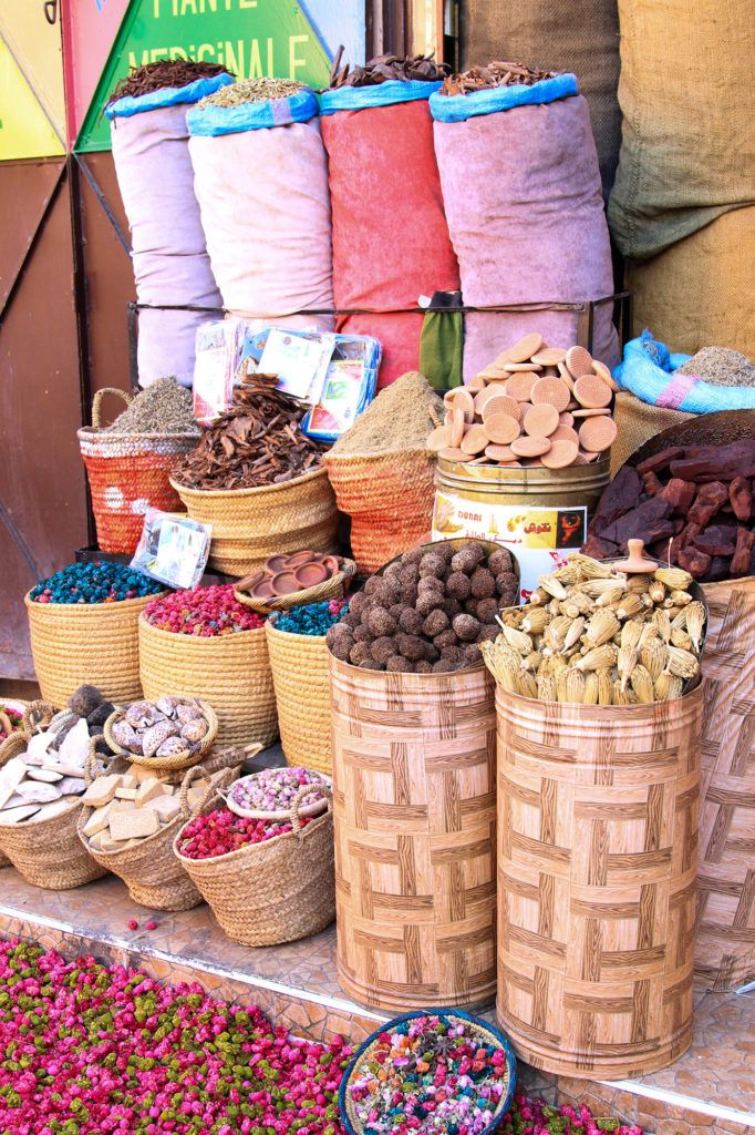 A variety of dried goods on sale on a Marrakesh street.