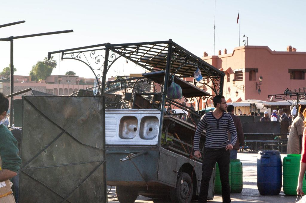 A pop-up food stall in Jemaa el Fna even has a built-in kitchen sink.
