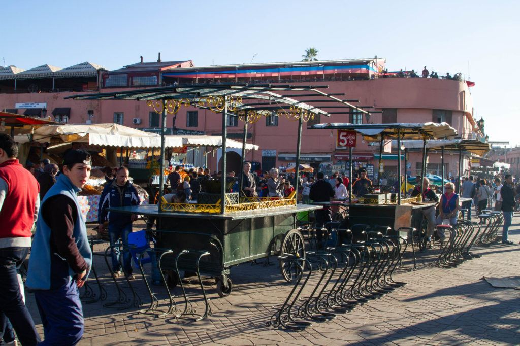 Nearly assembled food stalls, with counters, seating, and awnings, will soon be ready for customers in Jemaa el Fna.