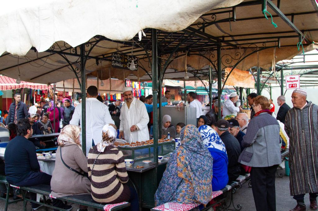 The Jemaa el Fna food stalls, are quickly assembled and already serving customers.