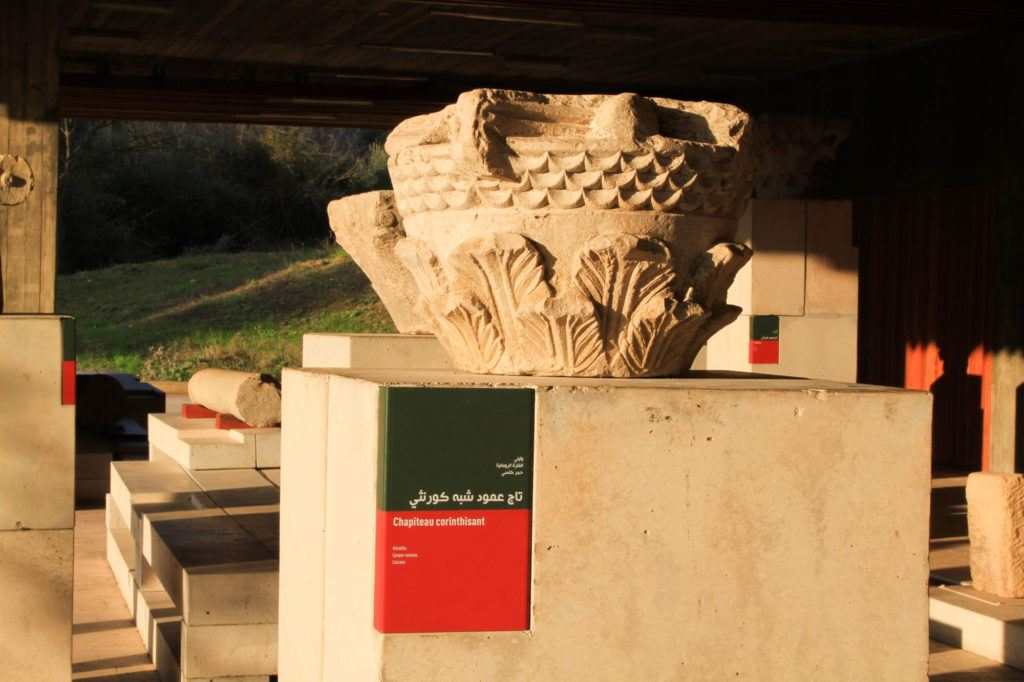 A Corinthian capital displayed in the on-site museum at the Volubilis Roman ruins, A UNESCO World Heritage Site.