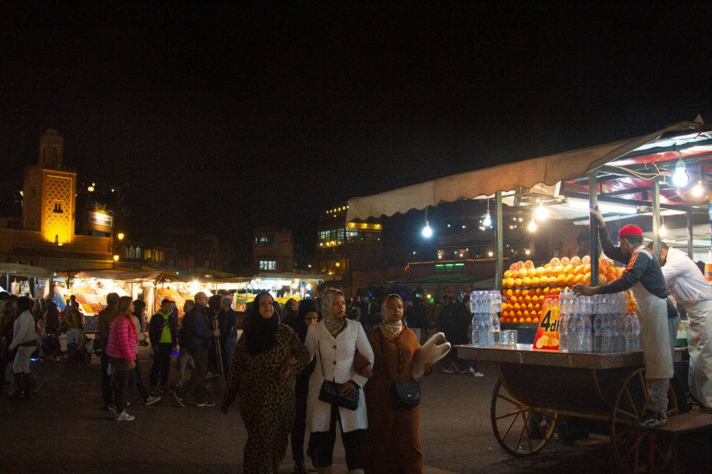 Jemaa el Fna gets even busier in the evening as it becomes the Marrakesh night market.