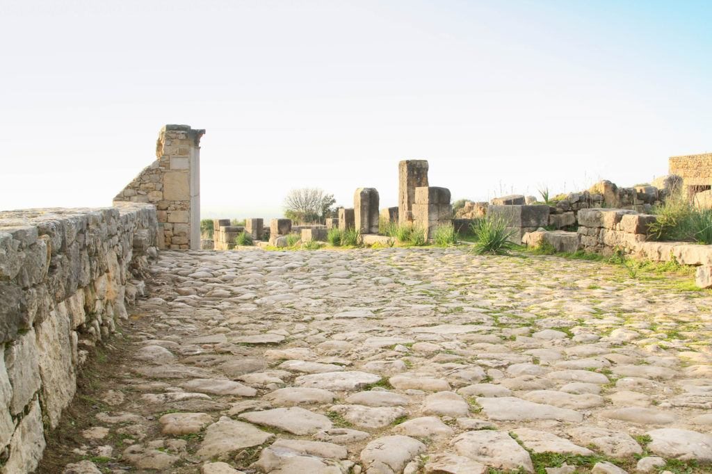 A very rough looking Roman road in Volubilis paved with really large, uneven stones.