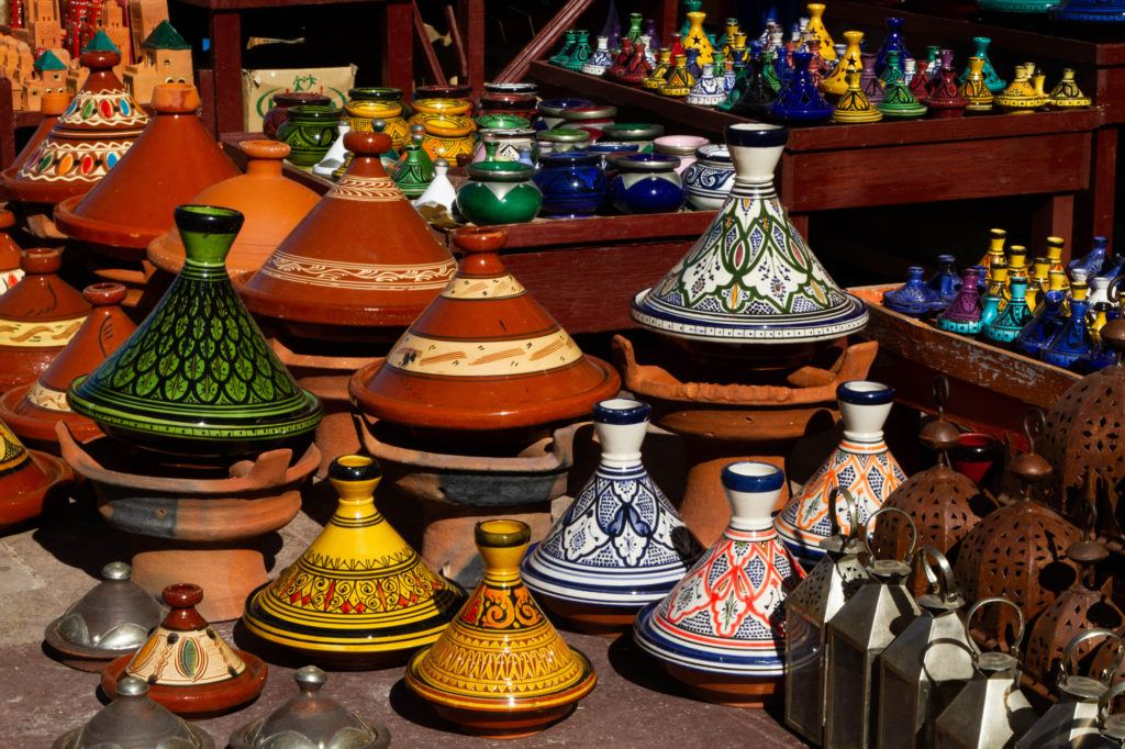 Beautifully decorated Tagines, clay cooking pots, on display in a shop in the Marrakech Medina.