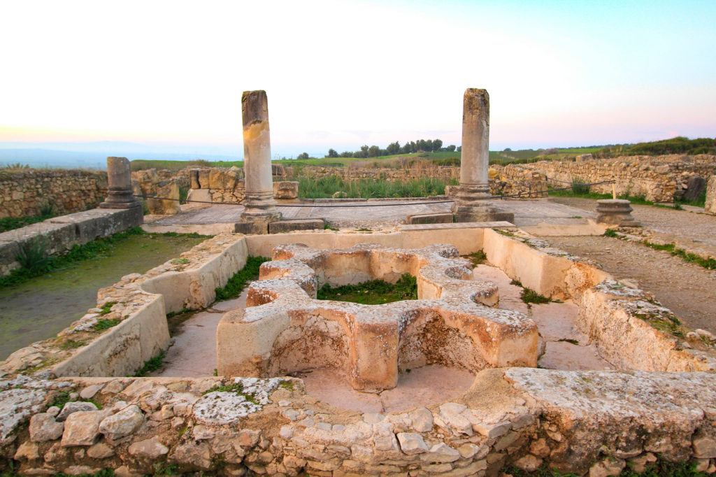 Inside the ruins of the North Baths in Volubilis, which were fed by an aqueduct.