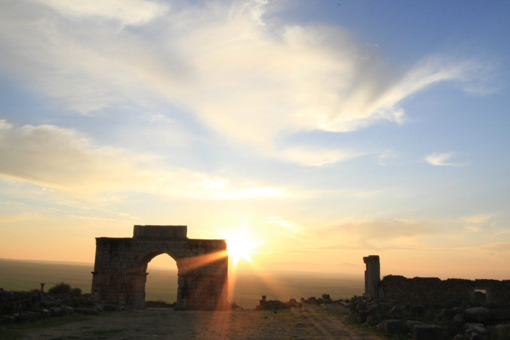 Another gorgeous Morocco sunset over the ancient Roman Ruins of Volubilis Morocco.