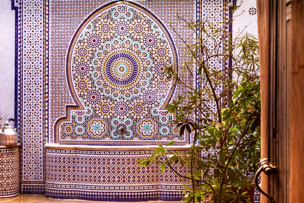 Beautifully tiled fountain in Marrakech, Morocco.