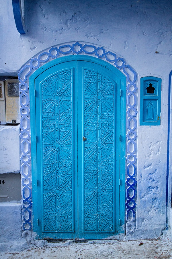Blue walls, blue doors, blue designs. Chefchaouen is a blue city.