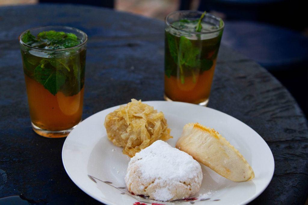 Moroccan cookies and tea, the best Moroccan snack.