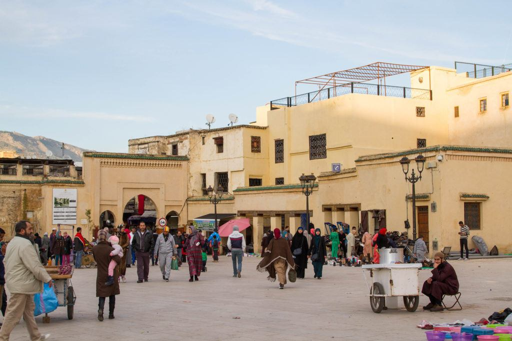 The Main square in Fez, where people come and play with their children, eat snacks, and gossip.