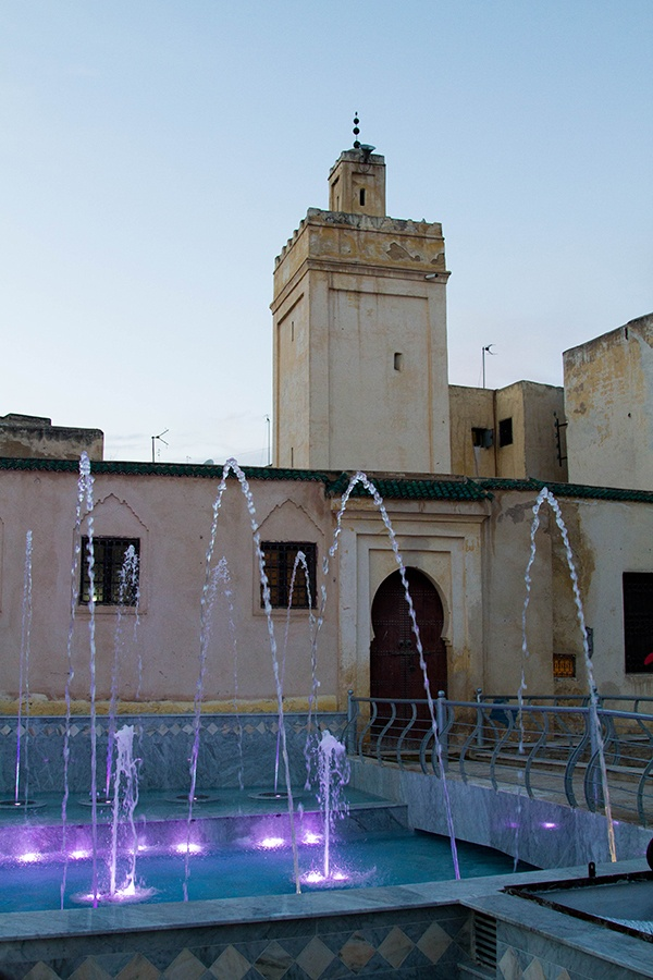 A colorful lighted fountain discovered in Fez in the evening.