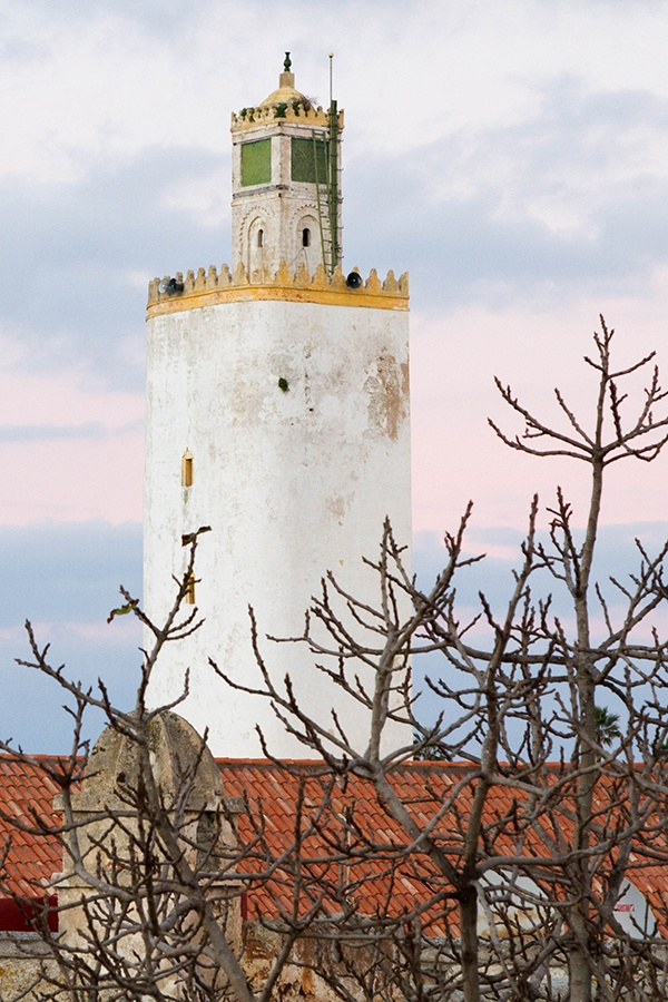Minaret on the Grand Mosque in El Jadida, Morocco.