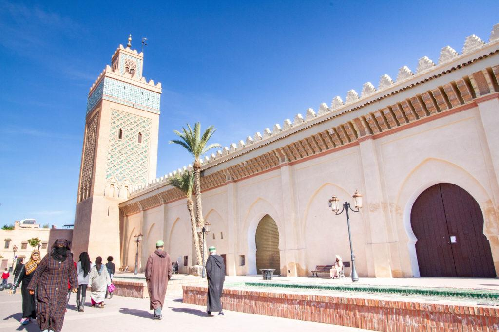 Exterior of Koutoubia Mosque and Minaret in Marrakech.