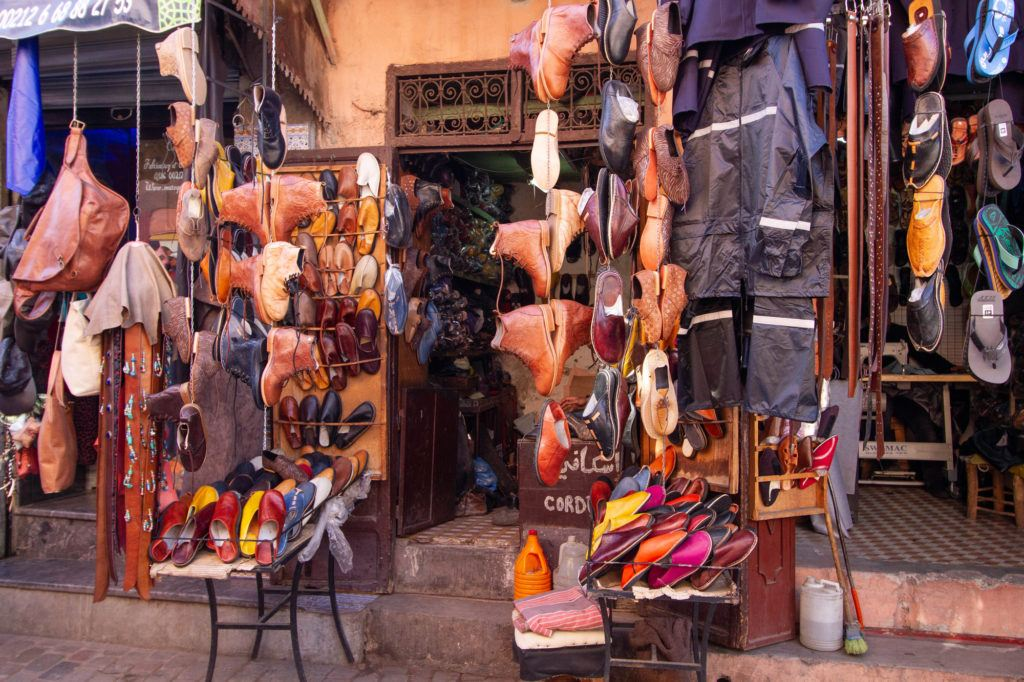 A shoe shop in the Marrakech Medina with leather everything from boots to slippers.