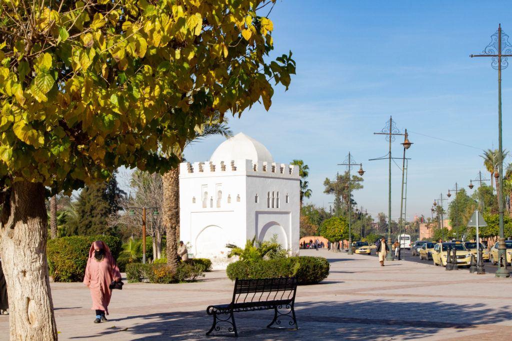 White mausoleum near Koutoubia Mosque, Marrakesh.