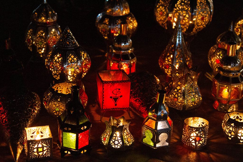 Moroccan style lanterns on sale in Marrakesh.