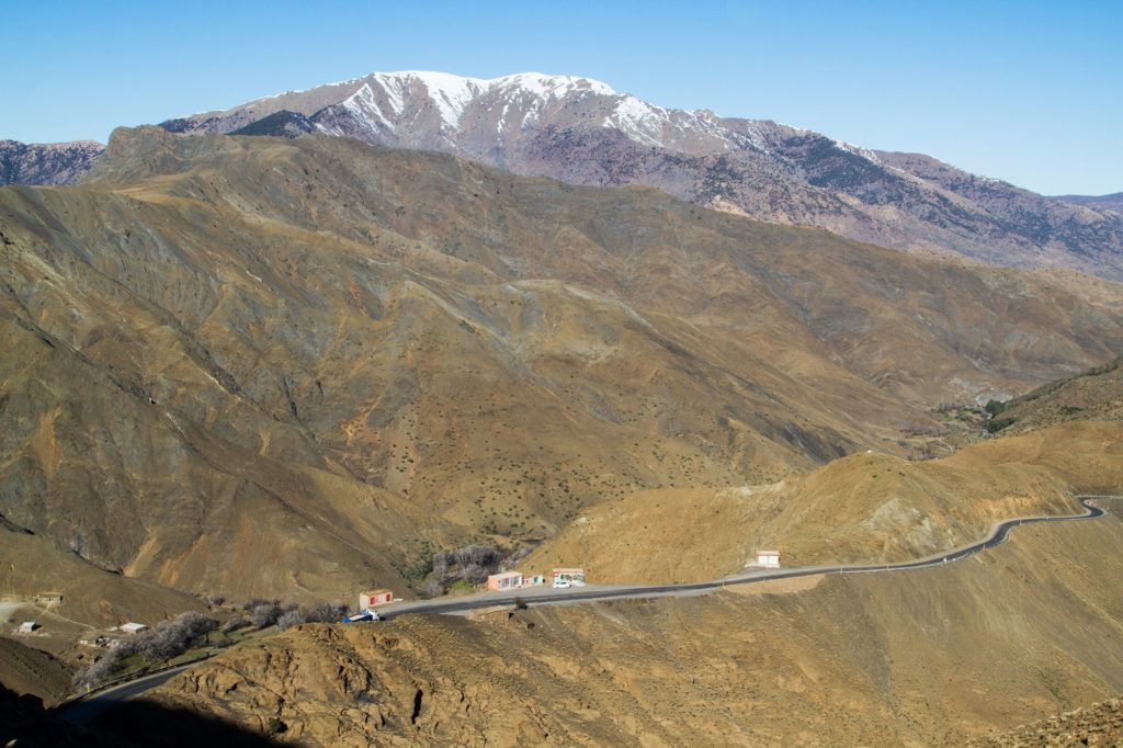 Road into the High Atlas Mountains in Morocco.