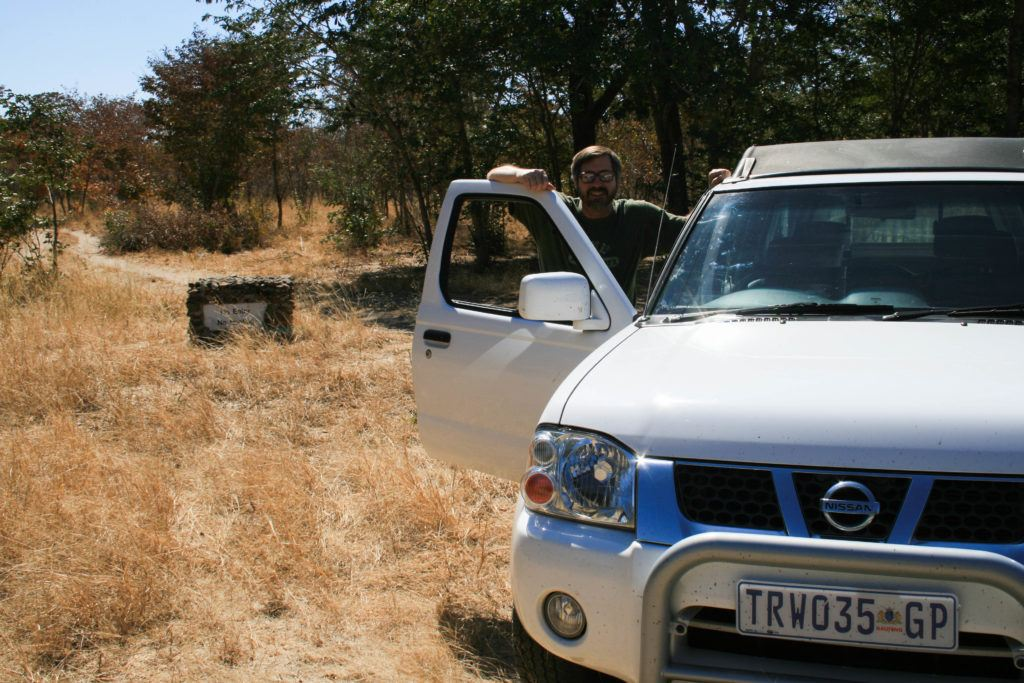 Jim and the rental truck for driving in Chobe.