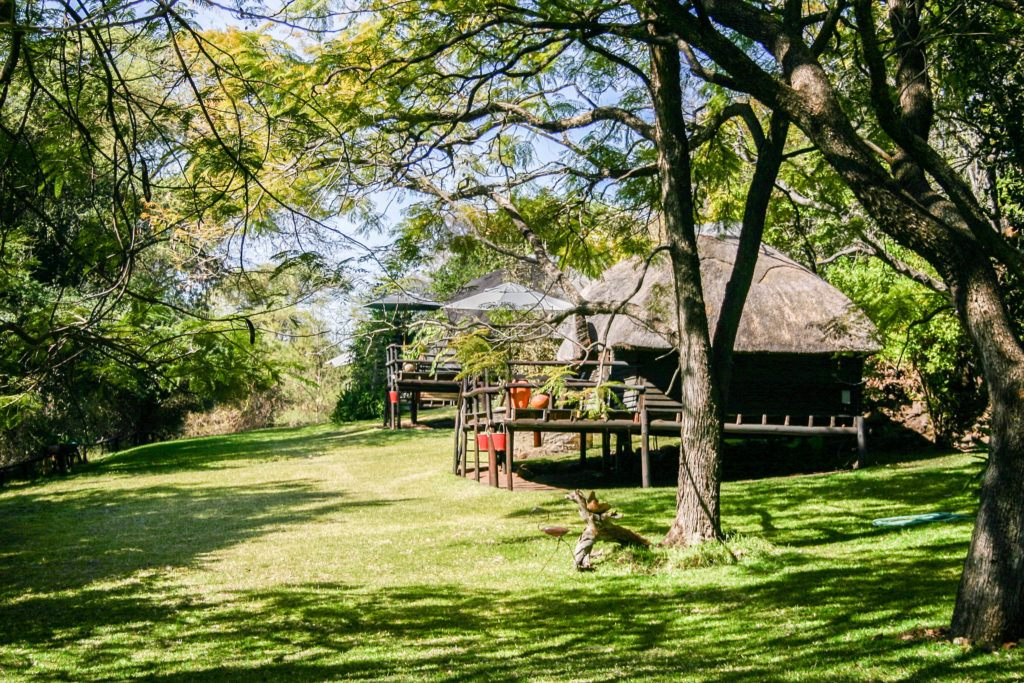 Typical Chobe National Park accommodation, thatched cottages.