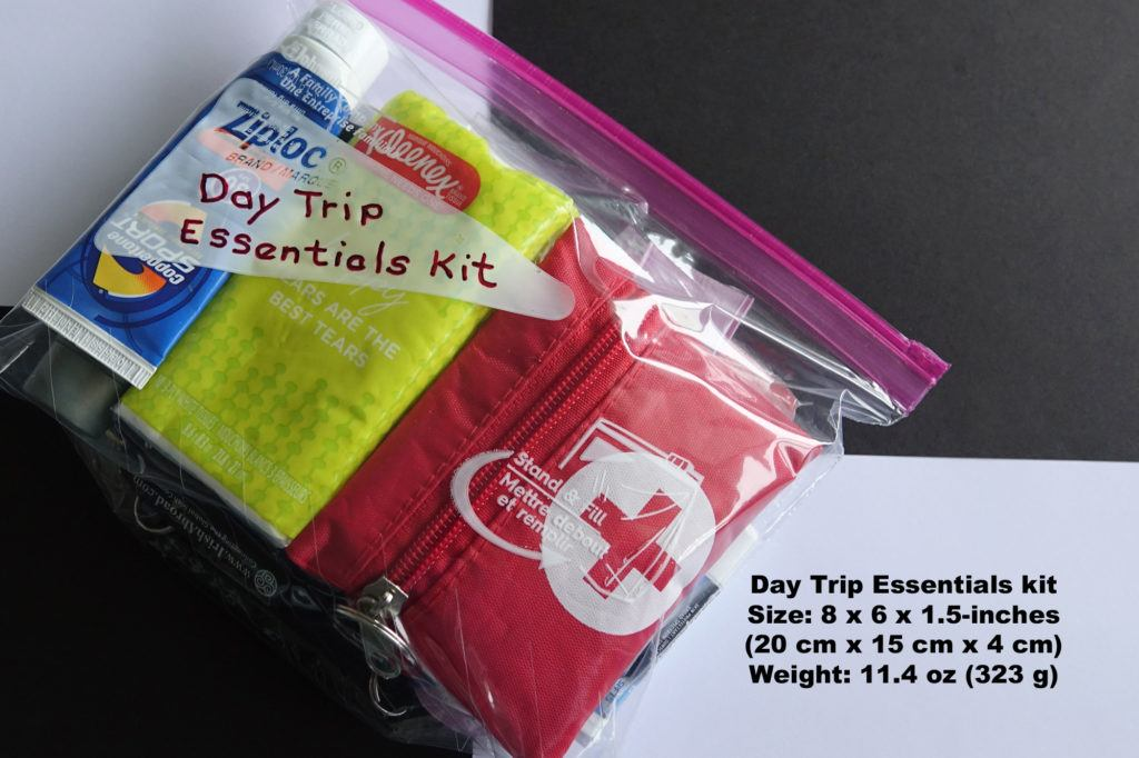 The packed daily bag essentials kit, which is a one-quart bag filled with small but useful items for any day trip.
