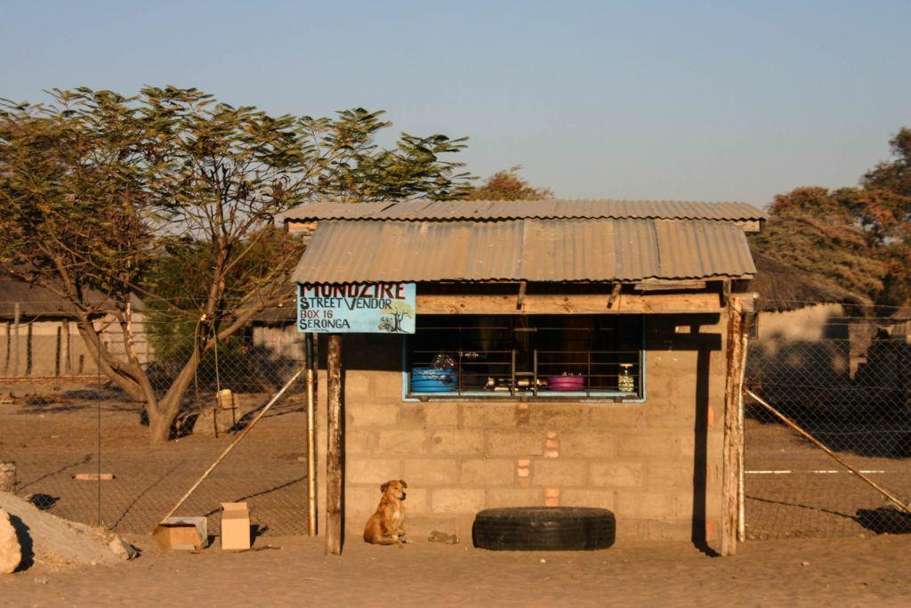 A small street vendor shop in Seronga Botswana.