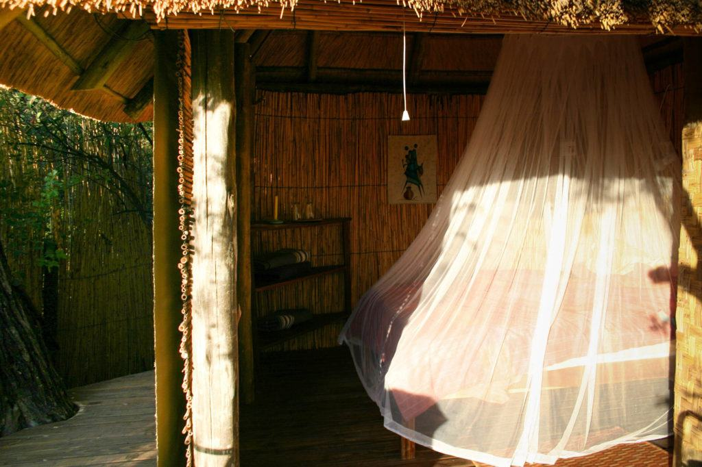 Ngepi Camp Treehouse bedroom in Namibia.