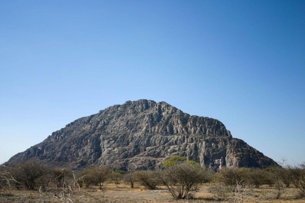 One of the four sacred Tsodilo Hills near the Kalahari Desert, Botswana.